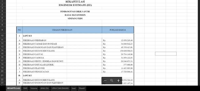 Hitungan Excel RAB Kontruksi Lengkap