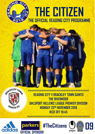Reading City FC 2019/20 programme cover