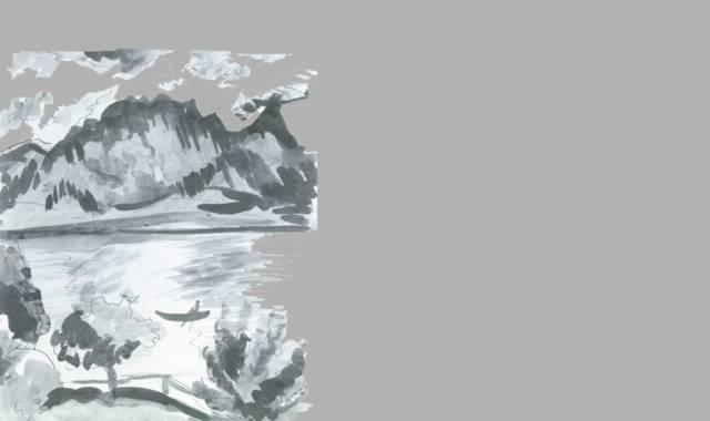 Berge, Wasser und Boot