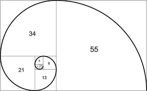 ilustracion de la espiral de fibonacci (fibonnaci sequence), sucesión de fibonacci, secuencia de fibonacci, o también llamada espiral dorada; todo ello con fondo blanco y la sucesión de números consecutivos 1