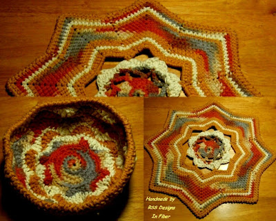 Basket and Mat Set in Rustic Tans Desert Sands Yarn - Handmade By RSS Designs In Fiber