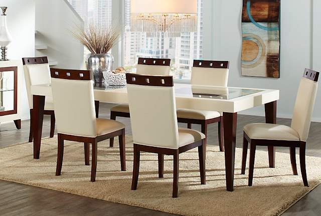 White Leather Dining Table Sets