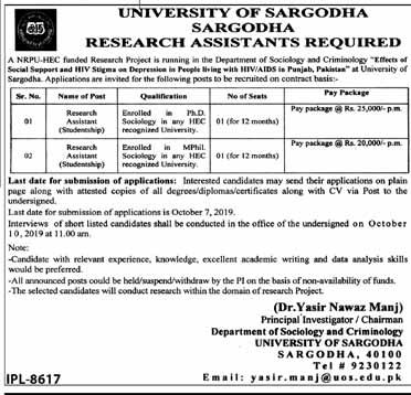 New Jobs in University of Sargodha (UOS)