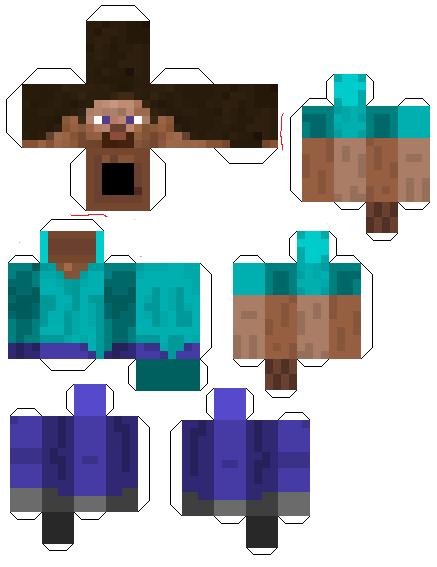 Papercraft minecraft steve template for Minecraft cut out templates