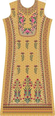 Ladies Yellow Box Kurti Design Pattern Front