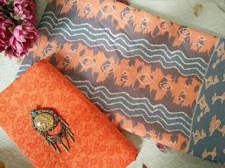 Kain Batik dan Embos 156 Pekalongan motif Mega Mendung Orange