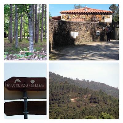 vegetação em montanha, casa em pedra, placas indicativas
