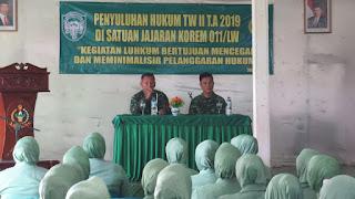 Kum Dam IM Selenggarakan Penyuluhan Hukum di Kodim Aceh Tengah