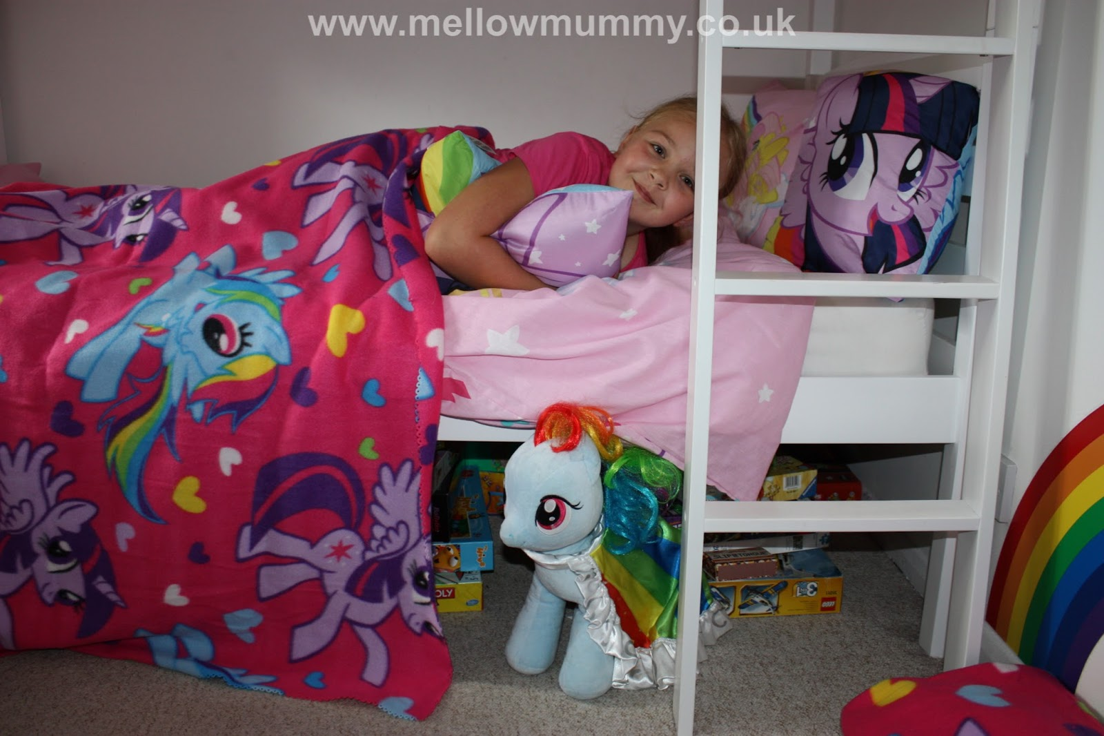 Fabulous Lara and Holly us bedroom looks fab now Both bunks are fitted out with a My Little Pony duvet cover and pillowcase Each girl has a My Little Pony cushion