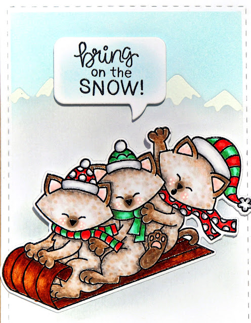 Bring on the Snow by Larissa Heskett for Newton's Nook Designs using Newton's Toboggan, Mountains Stencil, Speech Bubbles Die and Framework Die Set #newtonsnook #newtonsnookdesigns #newtonstoboggan #mountainsstencil