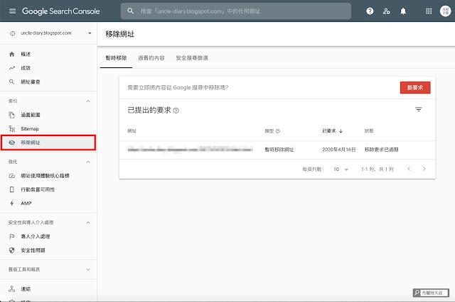 【Blogger】善用 Google Search Console 加速網站曝光效率 (網站、部落格都適用) - 「移除網址」可以屏蔽網頁出現在 Google 搜尋引擎