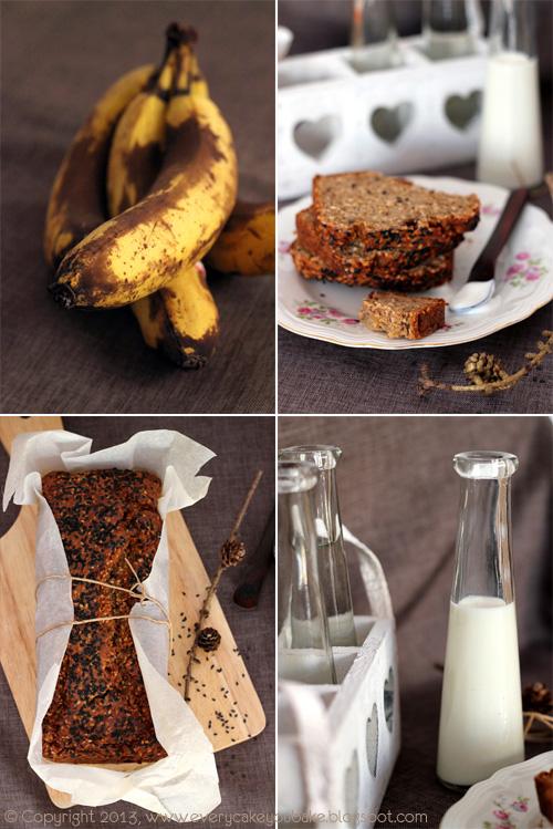 słodki chlebek bananowy na mące razowej z sezamem