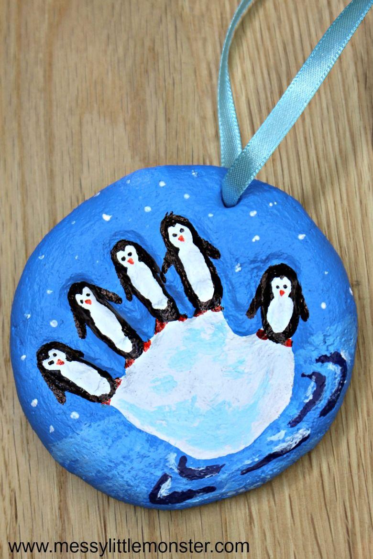 penguin salt dough handprint ornaments