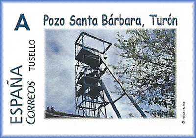 Sello personalizado del Pozo Santa Bárbara de Turón, Mieres
