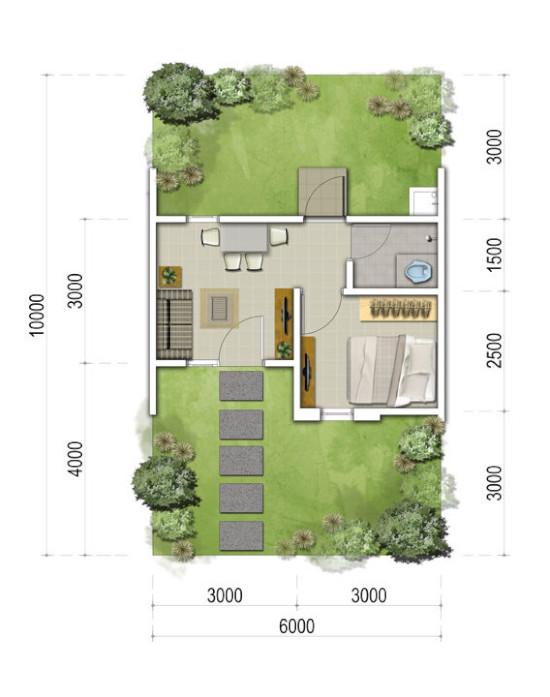 Denah rumah minimalis ukuran 6x10 meter 1 kamar tidur 1 lantai