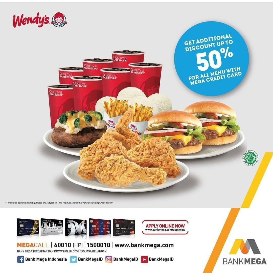 WENDYS Promo Diskon 50% untuk semua menu dengan Kartu Kredit Bank MEGA