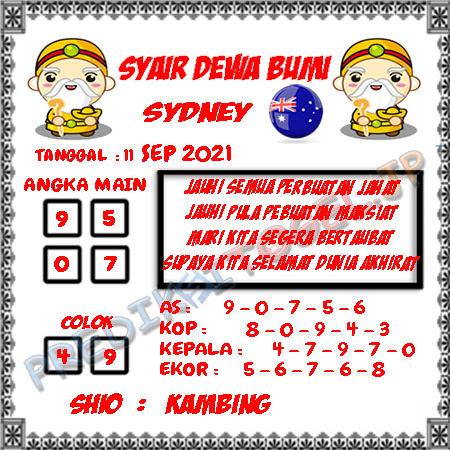 Syair Dewa Bumi Sidney Hari Ini 11-09-2021