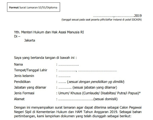 Download Surat Lamaran Cpns Kemenkumham 2019