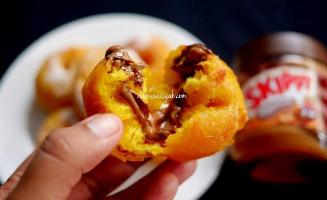 Resep Donat Labu Kuning isi Skippy Peanut Butter