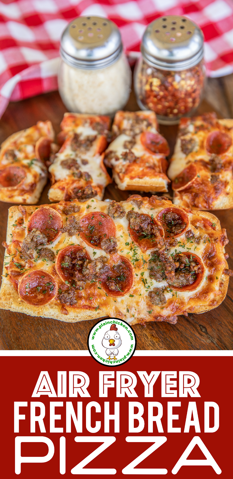 french bread pizza on a platter