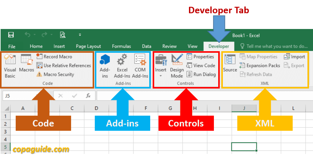 Developer Tab Options in Excel Hindi Notes