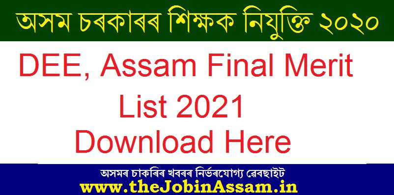 DEE, Assam Final Merit List 2021