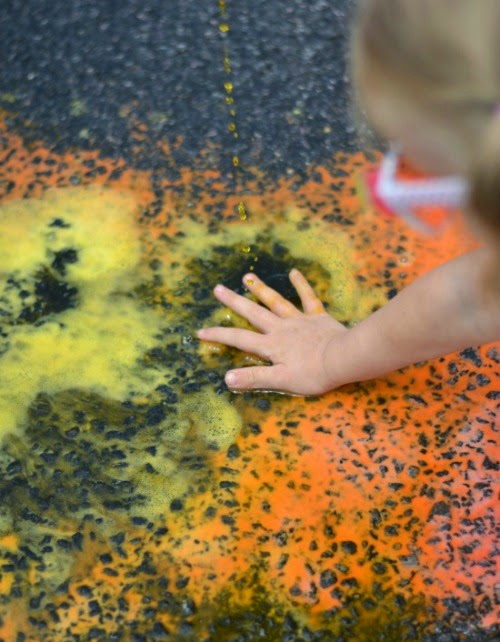 Magical color changing squirty chalk - my kids were wowed, and they got to create art, explore science, and review color theory.