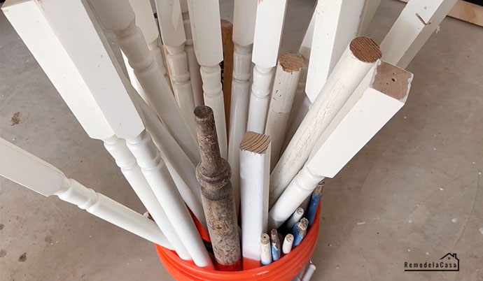 a bucket full of spindles
