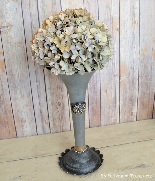turn an old semi truck air horn into a vase