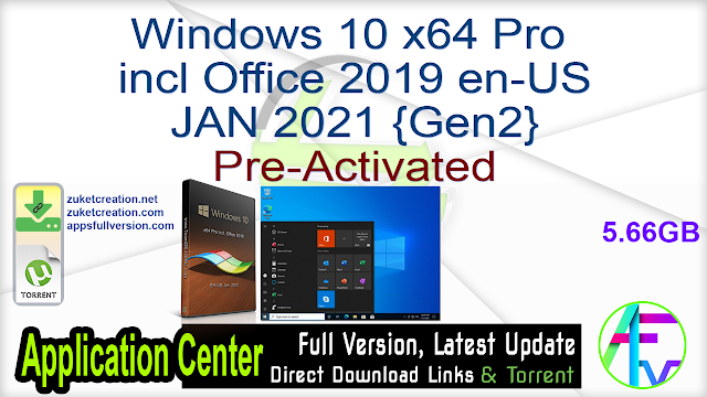 Windows 10 x64 Pro incl Office 2019 en-US JAN 2021 {Gen2} Pre-Activated