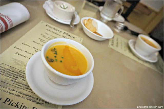 Crema de Calabaza del Menú del Restaurante Pickity Place en Mason, New Hampshire
