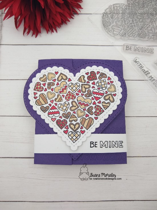 Be mine by Diane features Heartfelt love and Heart Frames by Newton's Nook Designs; #newtonsnook, #inkypaws, #valentinescard, #cardmaking