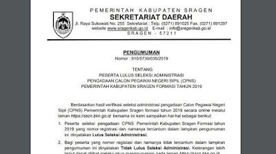 8.357 Peserta Lolos Seleksi Administrasi CPNS 2019 Pemkab Sragen