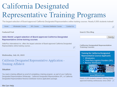California Designated Representative training programs. 3 Board-approved courses for: wholesaler, 3PL, reverse distributor. Earns a training affidavit.