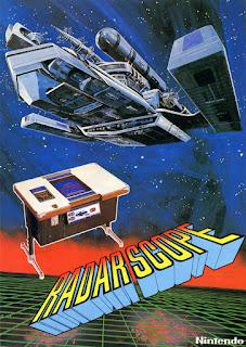 Imagen con el flyer de Radar Scope, muestra una máquina cocktail, el logo y una enorme nave espacial