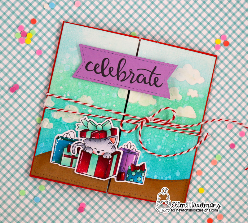 Interactive Folding Birthday Card with Ellen Haxelmans | Newton's Christmas Cuddles stamps and dies by Newton's Nook Designs #newtonsnook #handmade