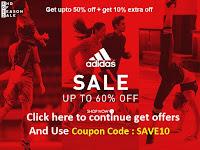 Get upto 50% off + get 10% extra off on Adidas