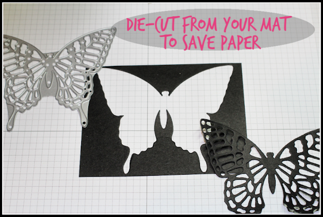 Tip: Die-Cut from your cardstock mat to save paper