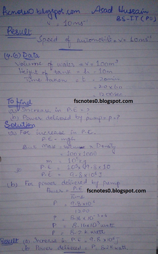 F.Sc ICS Notes: Physics XI: Chapter 4 Work and Energy Numerical Problems by Asad Hussain 5