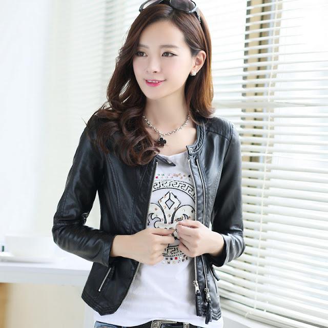 jaket kulit wanita warna hitam import korea