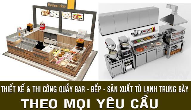 thiết kế thi công quầy bar tính tiền và bếp theo mọi yêu cầu