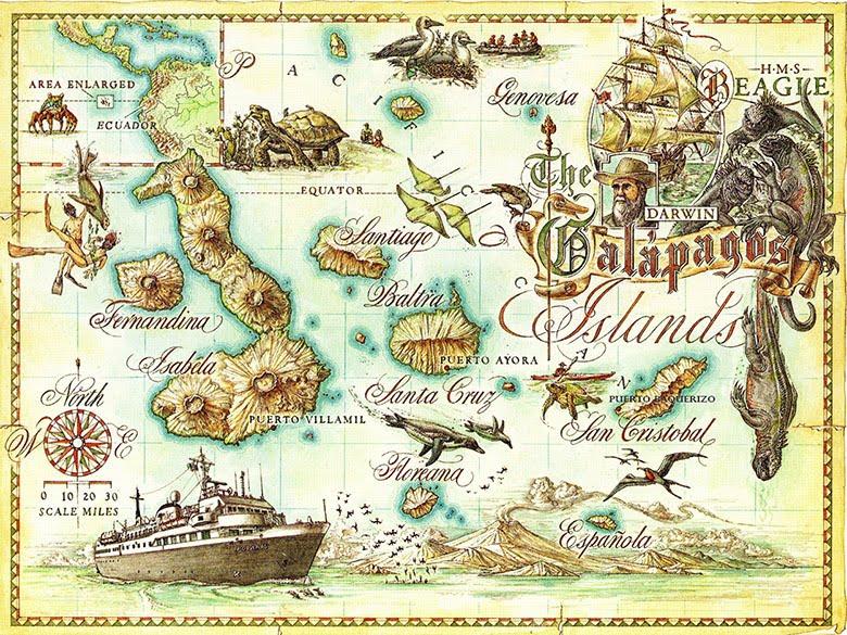 Mapa antiguo Galápagos