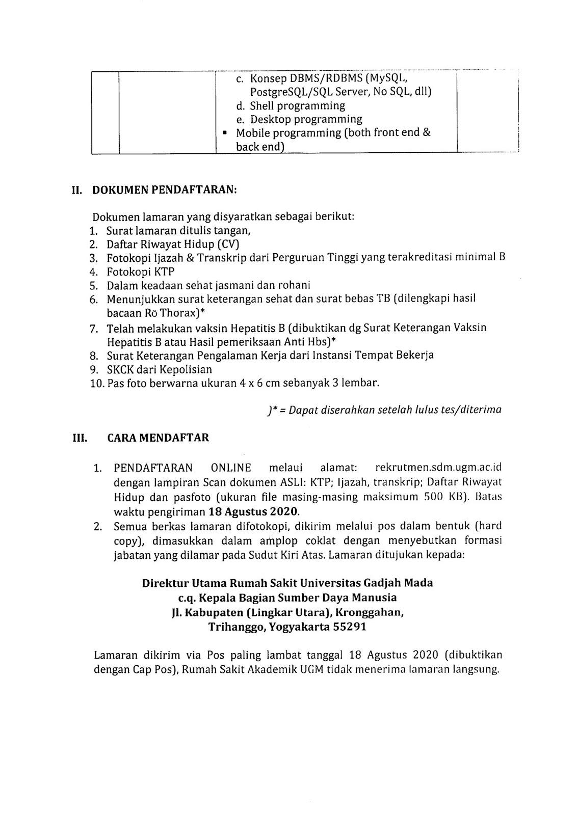 Rekrutmen Tenaga Kontrak RS Akademik UGM