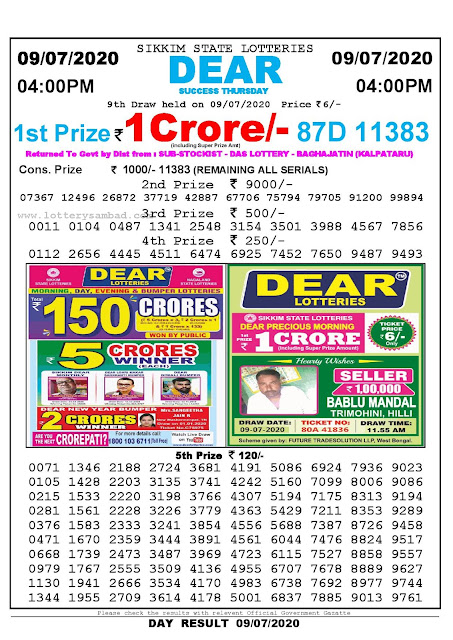 Sikkim State Lotteries 09-07-2020 Lottery Sambad Result 04:00 PM