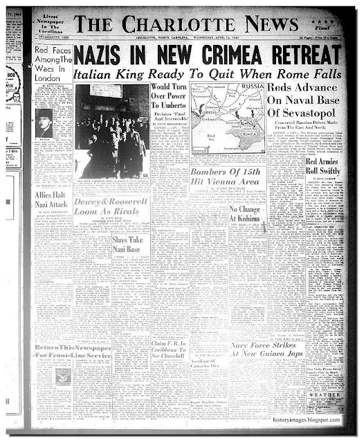 Newspaper heading Nazis Crimea Retreat 1944