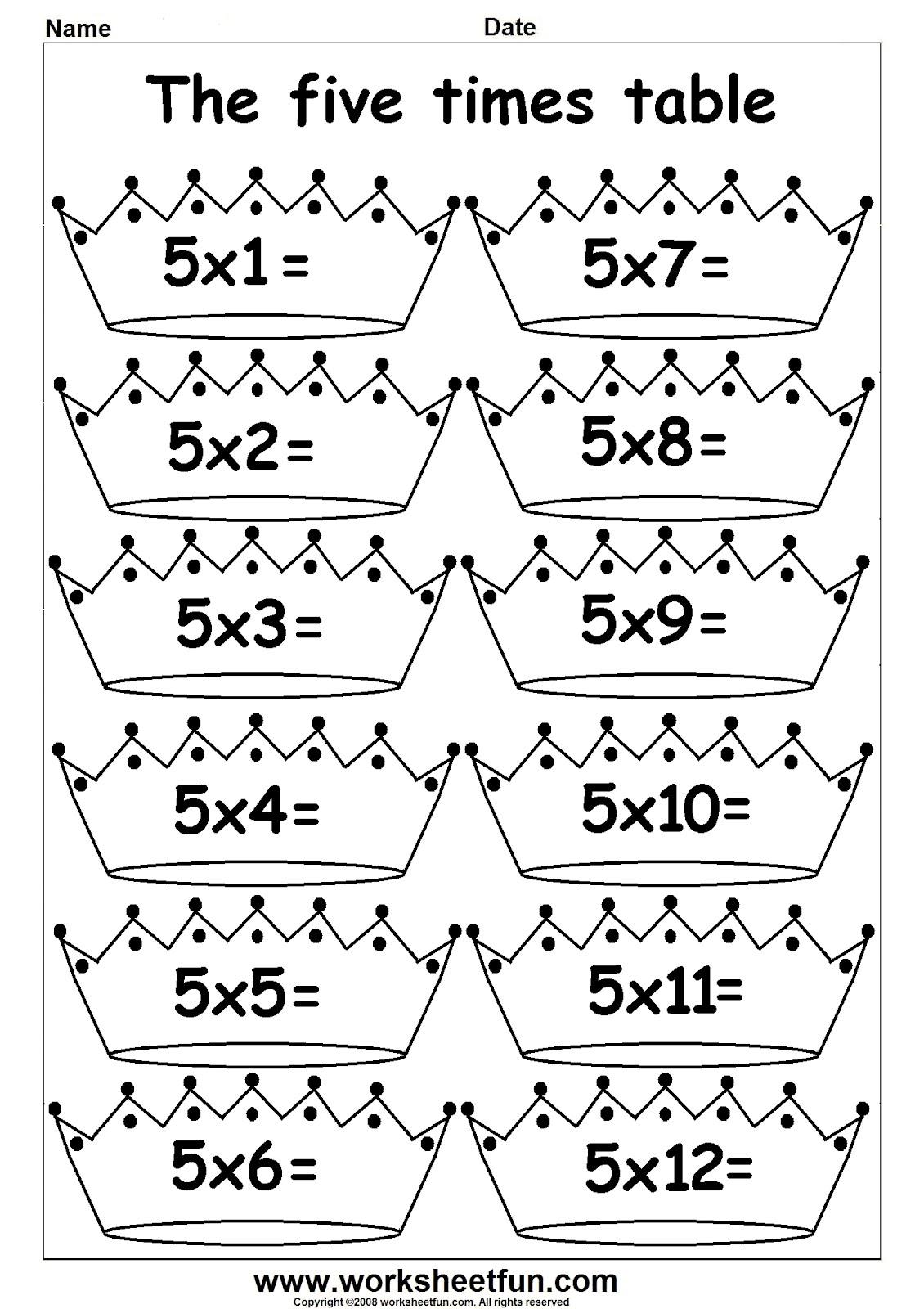 arab unity school grade 1 c blog maths multiply by 5 worksheets. Black Bedroom Furniture Sets. Home Design Ideas