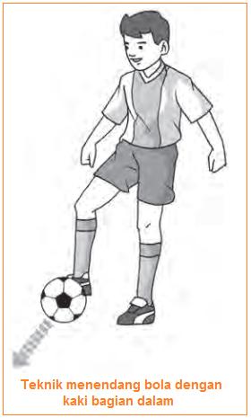 Gambar illustrasi Teknik menendang bola dengan kaki bagian dalam