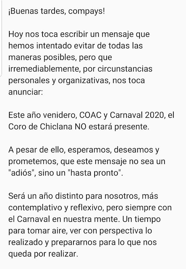 El Coro de Chiclana anuncia su NO participación en el próximo COAC y Carnaval de Cádiz 2020.