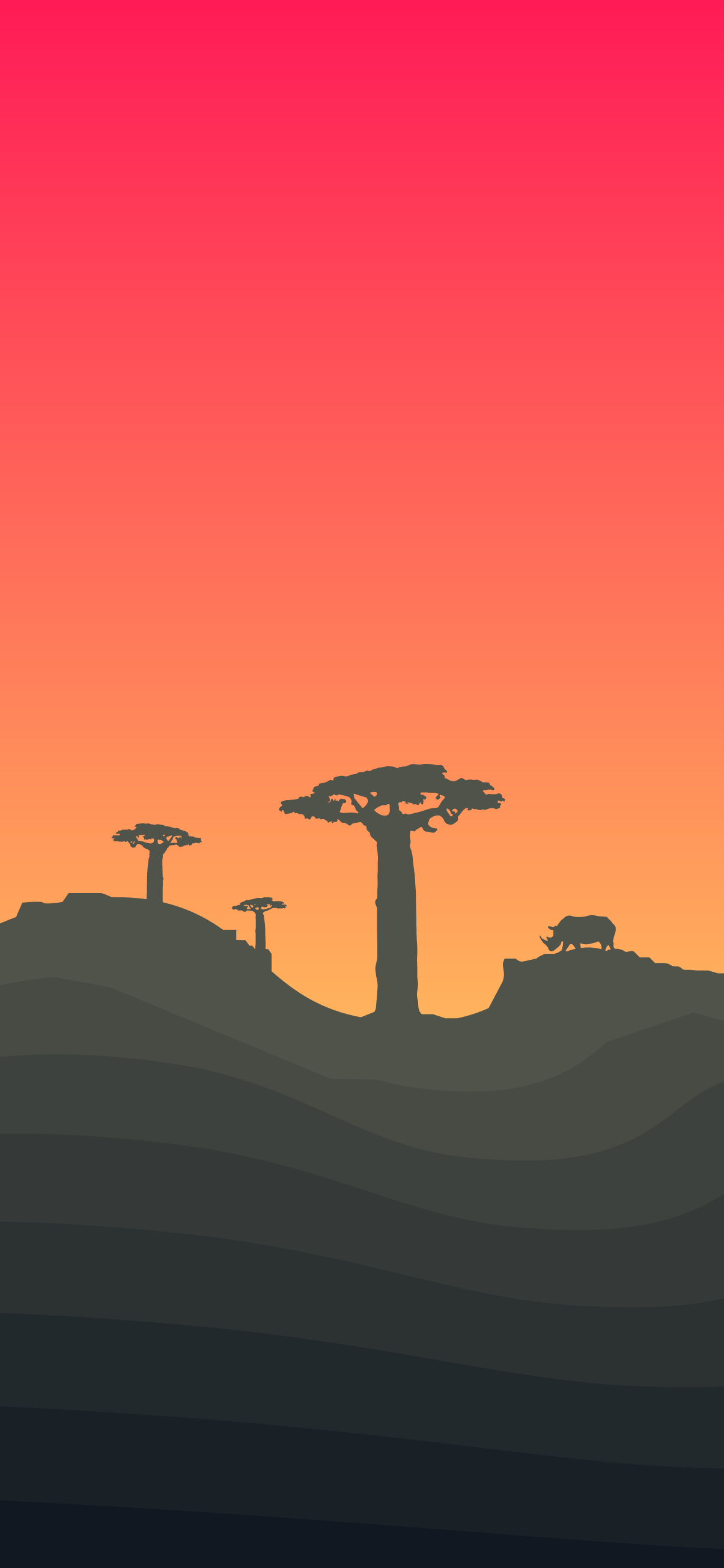 africa, rhino, baobab tree, minimalist, minimal, sunset