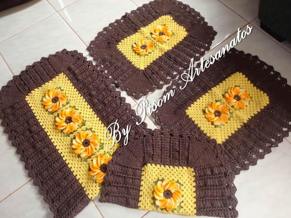 Jogo De Banheiro Marrom E Amarelo : Pisom artesanatos by bia chaves jogo de cozinha flor